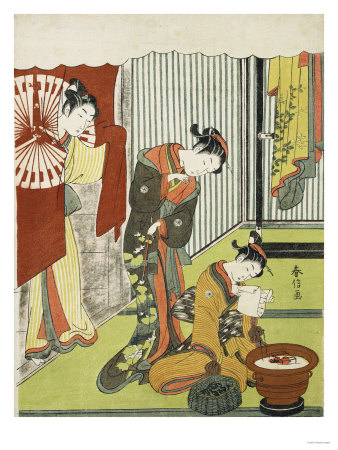 Figures in an Interior. a Courtesan Looking at Her Shinzo Who is Reading a Love Letter Premium Giclee Print by Okada Beisanjin