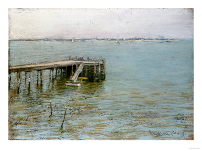 Long Island Pier Premium Giclee Print by William Merritt Chase