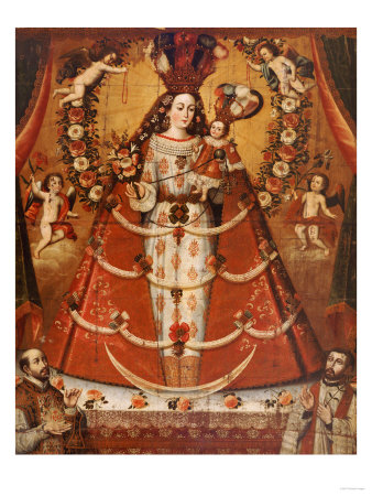 Our Lady of the Rosary, Nuestra Senora Del Rosario, Anonymous Cuzco School, 18th Century Premium Giclee Print by Jose Agustin Arrieta