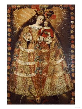 The Virgin of Pomata with a Rosary. Virgen De Pomata Con Rosario, 18th Century Premium Giclee Print by Jose Agustin Arrieta