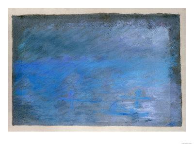 Waterloo Bridge, Brouillard, Pastel on Blue Paper 1901 Premium Giclee Print by Edgar Degas