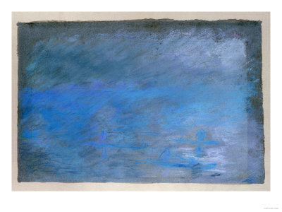 Waterloo Bridge, Brouillard, Pastel on Blue Paper 1901 プレミアムジクレープリント : エドガー・ドガ