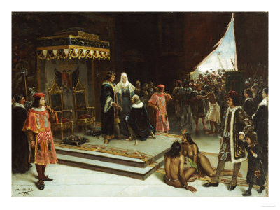 Columbus Before the Spanish Court after His Return from the Americas, 1894 Premium Giclee Print by Jose Agustin Arrieta