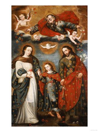 The Sacred Family, Anonymous, Cuzco School, 18th Century Premium Giclee Print by Jose Agustin Arrieta
