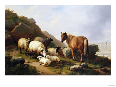 A Pony and Sheep on a Cliff with a Sailing Vessel Beyond, 1868 Kunsttryk