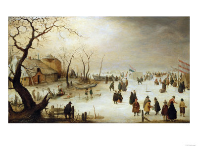 A Winter River Landscape with Figures on the Ice Premium Giclee Print by Hendrik Avercamp