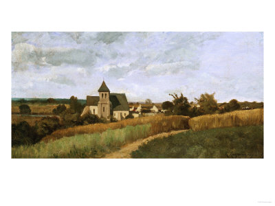 A Village at Harvest Time Kunsttryk
