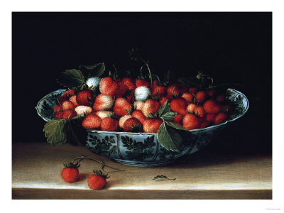 A Bowl of Strawberries Premium Giclee Print by Hendrik Avercamp