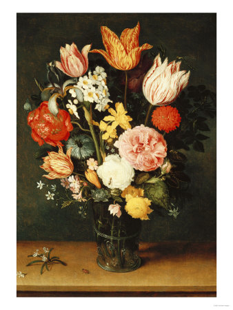 Tulips, Roses and Other Flowers in a Glass Vase Premium Giclee Print by Hendrik Avercamp