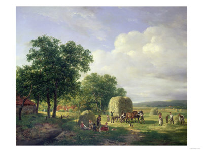 A Wooded Landscape with Haymakers, 1822 Giclee Print