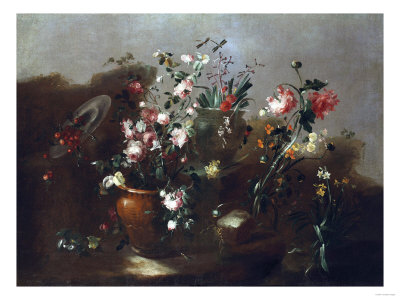Roses and Other Flowers in Urns with Flowers and Cherries by a Ruin Kunsttryk