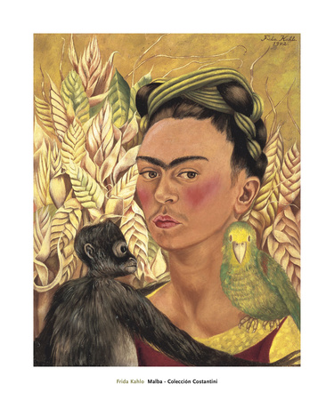 Self-Portrait with Monkey and Parrot, c.1942 Lámina por Frida Kahlo