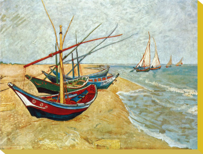 Fishing Boats on the Beach at Saints-Maries, c.1888 Stretched Canvas Print by Vincent van Gogh