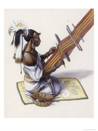 Mayan Woman's Water Lily and Decorated Mat Indicate Royal Blood Premium Giclee Print by Terry Rutledge