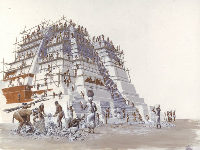 Mayan Laborers Fit and Mortar a Temple's Limestone Blocks Premium Giclee Print by Terry Rutledge