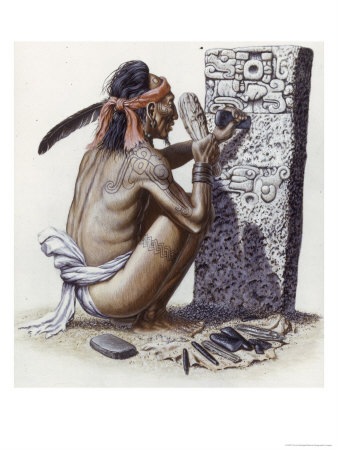 Mayan Artisan Readies a Limestone Stela Used to Record Noble Events Premium Giclee Print by Terry Rutledge