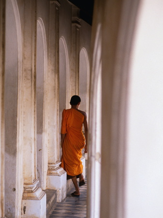 Monk Walking Away, Bangkok, Thailand Photographic Print by Peter Hendrie