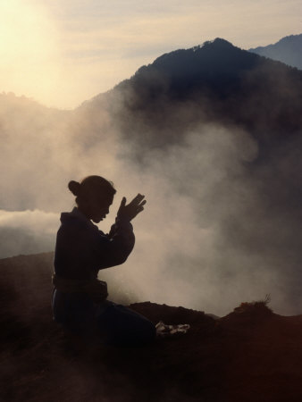 Woman Leaving an Offering on Mt. Batur, Batur, Bali, Indonesia Photographic Print