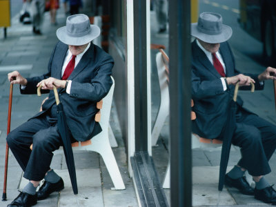 Old Man on Bench, Melbourne, Victoria, Australia Photographic Print by Peter Hendrie