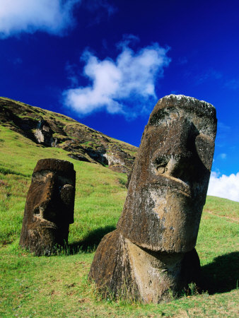 Moai on Side of Volcano, Easter Island, Valparaiso, Chile Photographic Print by Peter Hendrie