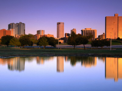 Fort Worth Reflected in the Trinity River Park, Fort Worth, Texas Photographic Print by Richard Cummins