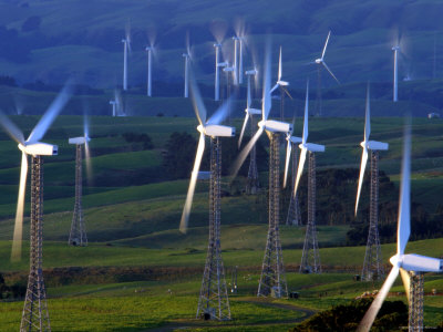Te Apiti Wind Farm, Tararua Ranges, New Zealand Fotografisk tryk af Paul Kennedy