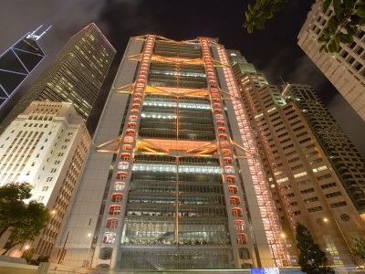 The HSBC Bank Building and Surrounding Towers in Central, Hong Kong, Hong Kong, China Photographic Print by Greg Elms