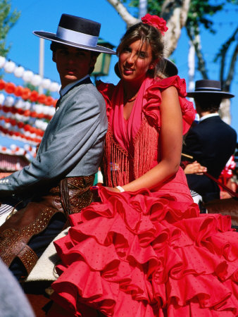 Feria de Abril Horseman with Girl in Traditional Dress, Sevilla, Andalucia,