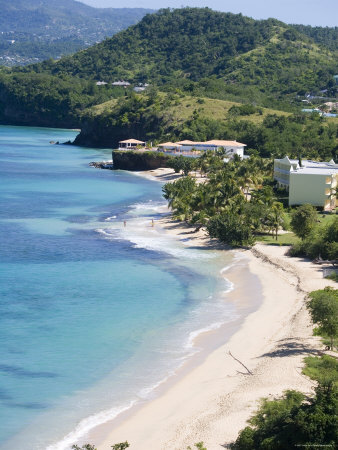 Magazine Beach from Maca Bana Villas, Point Salines, Grand Anse, St. George, Grenada Photographic Print by Holger Leue