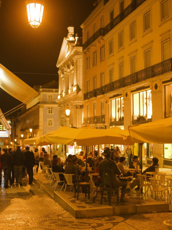 Diners in Chiado, Lisbon, Portugal Photographic Print by Greg Elms