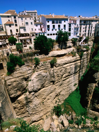 Houses on Edge of Cliff, La Ciudad, Ronda, Andalucia, Spain Photographic Print