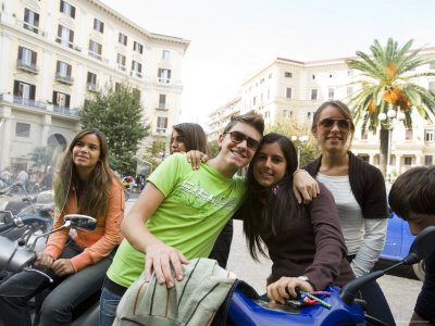 Teenagers Hanging Out in Piazza Vanvitelli, Vomero, Naples, Campania, Italy Photographic Print by Greg Elms