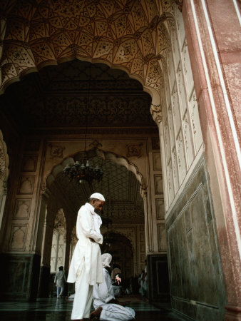 Call to Pray Inside the Badshahi Mosque, Lahore, Punjab, Pakistan Photographic Print