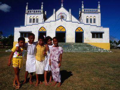 Group of Children Outside Vaiusu Catholic Church, Upolu, Samoa Photographic Print by Peter Hendrie
