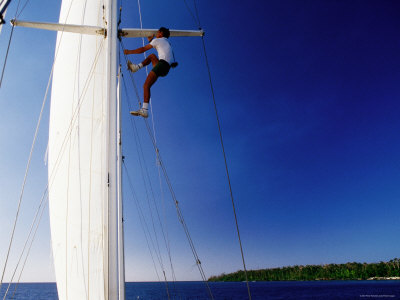 Man Climbing Mast of Yacht, Port Vila, Shefa, Vanuatu Photographic Print by Peter Hendrie