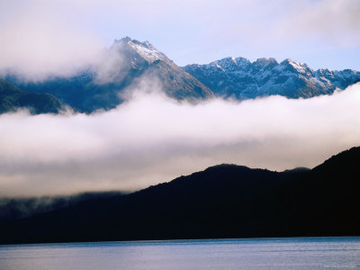 Lake Manapouri and Mountains, Manapouri, New Zealand Photographic Print by Peter Hendrie