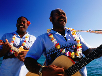 Musicians Singing and Playing Guitar and Ukelele, Amedee Islet, South Province, New Caledonia Photographic Print by Peter Hendrie