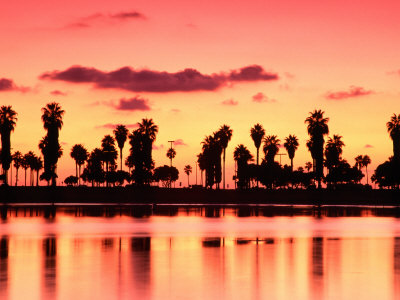 Mission Bay at Sunset, San Diego, California Photographic Print
