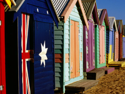 Brightly-Painted Beach Huts, Brighton, Melbourne, Victoria, Australia Photographic Print