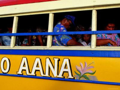 Passengers on Island Bus, Upolu, Samoa Photographic Print by Peter Hendrie