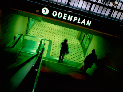Passengers Entering Odenplan Metro Train Station, Stockholm, Sweden Photographic Print by Martin Lladó