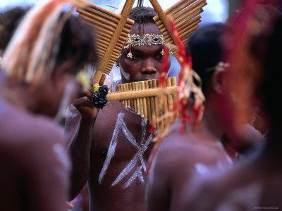 Man Playing Panpipe, Malaita Island, Malaita, Solomon Islands Photographic Print by Peter Hendrie