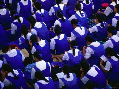 Female Students Sitting Together, Nuku'Alofa, Tongatapu Group, Tonga Photographic Print by Peter Hendrie