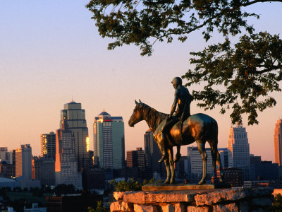 City Skyline Seen from Penn Valley Park, with Indian Statue in Foreground, Kansas City, Missouri Photographic Print by John Elk III