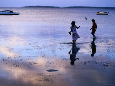 Children Standing in Shallow Tide, Tongatapu Island, Tongatapu Group, Tonga Photographic Print by Peter Hendrie