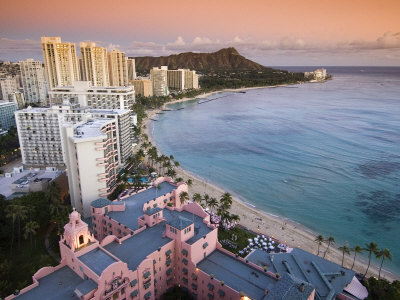 Waikiki Beach with Royal Hawaiian Hotel and Diamond Head at Sunset, Oahu, Hawaii Photographic Print by John Elk III