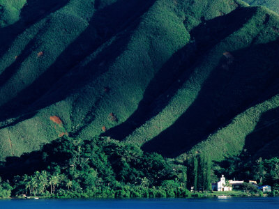 Quare Chapel at Base of Mountain, Grand Terre, South Province, New Caledonia Photographic Print by Peter Hendrie