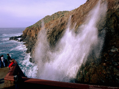 Visitors Watching La Bufadora Sea Spout, Ensenada, Baja California, Mexico Photographic Print by John Elk III