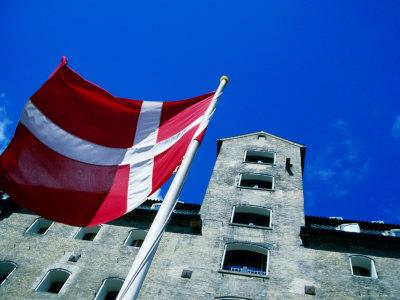 Dannebrog, The Danish Flag, In Front of Admiral Hotel, Copenhagen, Denmark Photographic Print by Martin Lladó