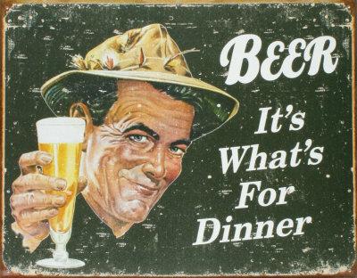 Pivo (text v angličtině) Plechová cedule